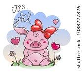 it is a girl. cute cartoon pig... | Shutterstock .eps vector #1088227826
