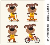 set of isolated funny puppy dog ... | Shutterstock .eps vector #1088233556
