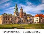 wawel castle with spring...   Shutterstock . vector #1088238452