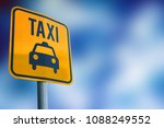 taxi signs on the background...   Shutterstock . vector #1088249552