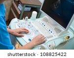 a doctor  an echography... | Shutterstock . vector #108825422