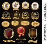 Golden Badges And Labels Retro...