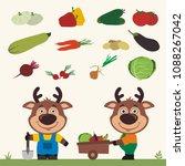 set of isolated vegetables ... | Shutterstock .eps vector #1088267042