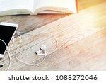 white heart shape earphone with ... | Shutterstock . vector #1088272046