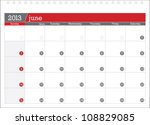 june 2013 planning calendar | Shutterstock .eps vector #108829085