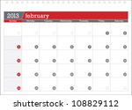 february 2013 planning calendar | Shutterstock .eps vector #108829112