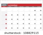 november 2013 planning calendar | Shutterstock .eps vector #108829115