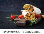 burritos wraps with beef and... | Shutterstock . vector #1088296088