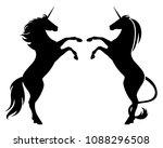 prancing unicorn horses black... | Shutterstock .eps vector #1088296508