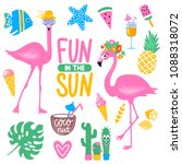 vector summer set with pink... | Shutterstock .eps vector #1088318072