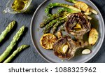 artichoke and asparagus grill.... | Shutterstock . vector #1088325962