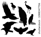 silhouettes of birds. | Shutterstock . vector #1088347706