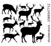 silhouettes of deers. | Shutterstock . vector #1088347712
