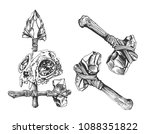 stone axes. weapons of... | Shutterstock .eps vector #1088351822