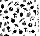 doodle autumn seamless pattern | Shutterstock .eps vector #108839576