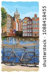 bicycle on bridge over the... | Shutterstock .eps vector #1088418455