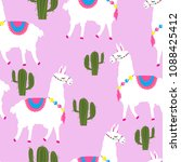 seamless pattern with a cute... | Shutterstock .eps vector #1088425412