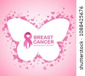 pink ribbon and breast cancer... | Shutterstock .eps vector #1088425676