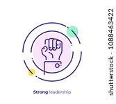 line art rised fist. leadership ... | Shutterstock .eps vector #1088463422