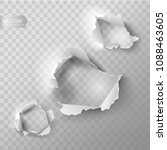realistic holes set in paper... | Shutterstock .eps vector #1088463605