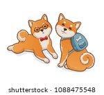 two shiba inu dogs. one lying... | Shutterstock .eps vector #1088475548