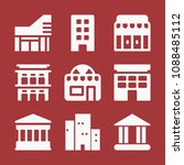 filled set of 9 buildings icons ... | Shutterstock .eps vector #1088485112