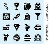 filled set of 16 food icons... | Shutterstock .eps vector #1088490338