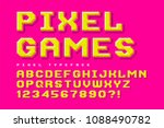 pixel look vector font design ... | Shutterstock .eps vector #1088490782