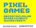 pixel look vector font design ...   Shutterstock .eps vector #1088490785