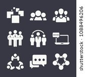 set of 9 group filled icons... | Shutterstock .eps vector #1088496206