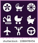 set of 9 transport filled icons ... | Shutterstock .eps vector #1088498456
