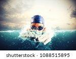 athlete swims in a blue deep... | Shutterstock . vector #1088515895