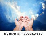 praying hands with sunlight... | Shutterstock . vector #1088519666