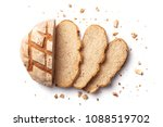 sliced bread isolated on a... | Shutterstock . vector #1088519702