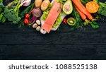 salmon fillet and fresh... | Shutterstock . vector #1088525138