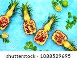 pineapple salsa served in a...   Shutterstock . vector #1088529695