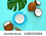 coconut oil in a white bowl... | Shutterstock . vector #1088530088