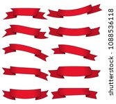 set of ten red ribbons and... | Shutterstock . vector #1088536118