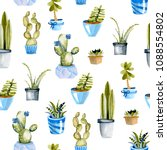 watercolor cactuses in a blue... | Shutterstock . vector #1088554802