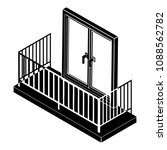 balcony with metal fencing icon.... | Shutterstock . vector #1088562782