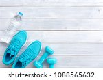 bottle of water  blue sneakers... | Shutterstock . vector #1088565632