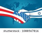 handshake usa and israel.... | Shutterstock .eps vector #1088567816