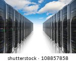 Stock photo cloud computing and computer networking concept rows of network servers against blue sky with 108857858