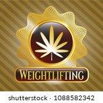 golden emblem with weed leaf... | Shutterstock .eps vector #1088582342