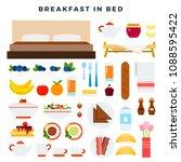 breakfast in bed vector flat...   Shutterstock .eps vector #1088595422