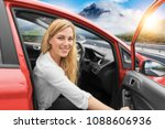 beautiful blonde girl driving a ... | Shutterstock . vector #1088606936