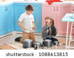 cute little children playing... | Shutterstock . vector #1088613815