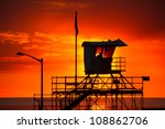 Silhouette Of A Lifeguard Towe...