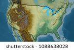 United States mainland area on the topographic relief map in the stereographic projection - raw composition of raster layers with dark glowing outline