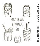 set of different beverages for... | Shutterstock .eps vector #1088638256